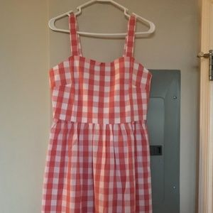 J. Crew Factory Pink and White Gingham Dress